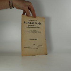 náhled knihy - Předseda vlády Dr. Milan Hodža mluví k sněmovnám a lidu Československé republiky. Vládní prohlášení