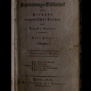 antikvární kniha Erheiterungs-Bibliothek für Freunde romantischer Lectüre. Neue Folge (Theater). 20 Band, 1826