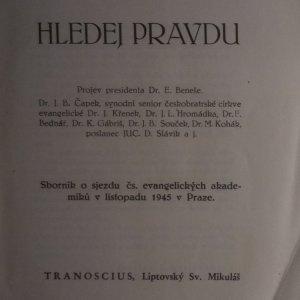 antikvární kniha Hledej pravdu. Sborník o sjezdu čs. evangelických akademiků v listopadu 1945 v Praze, 1945
