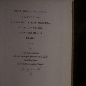 antikvární kniha Babiola (věnování a podpis autorky), 1930