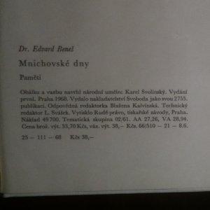 antikvární kniha Mnichovské dny. Paměti, 1968
