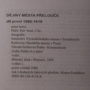 antikvární kniha Dějiny města Přelouče. Díl 1. 1086-1618, 1999