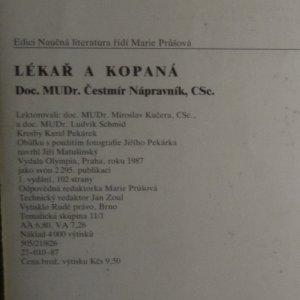 antikvární kniha Lékař a kopaná, 1987