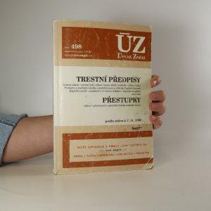 náhled knihy - Trestní předpisy. Přestupky. ÚZ 498