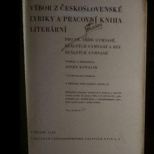 antikvární kniha Výbor z československé lyriky a pracovní kniha literární, 1938