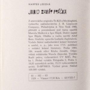 antikvární kniha Jako zabít ptáčka, 1964