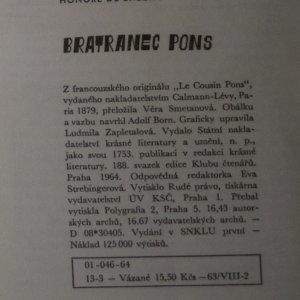 antikvární kniha Bratranec Pons, 1964