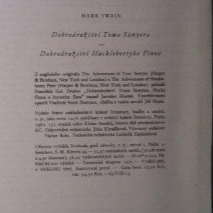 antikvární kniha Dobrodružství Toma Sawyera a Huckleberryho Finna, 1961