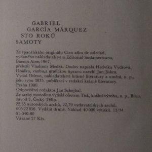 antikvární kniha Sto roků samoty, 1980