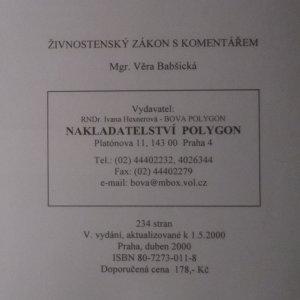 antikvární kniha Živnostenský zákon s komentářem a vzory podání, 2000