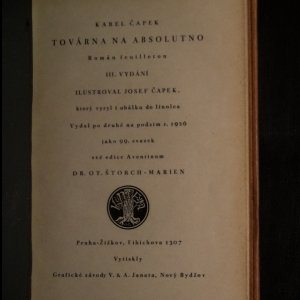 antikvární kniha Továrna na absolutno (podpis autora, viz foto), 1926