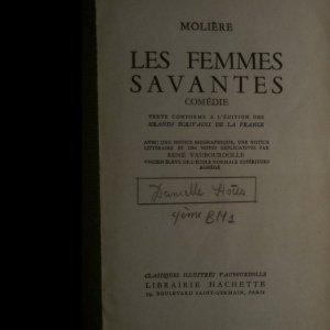 antikvární kniha Les Femmes Savantes, 1960
