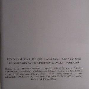 antikvární kniha Živnostenský zákon a předpisy souvisící. Komentář, 1996