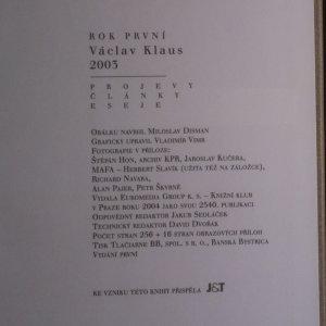 antikvární kniha Václav Klaus. Rok první. 2003, 2004